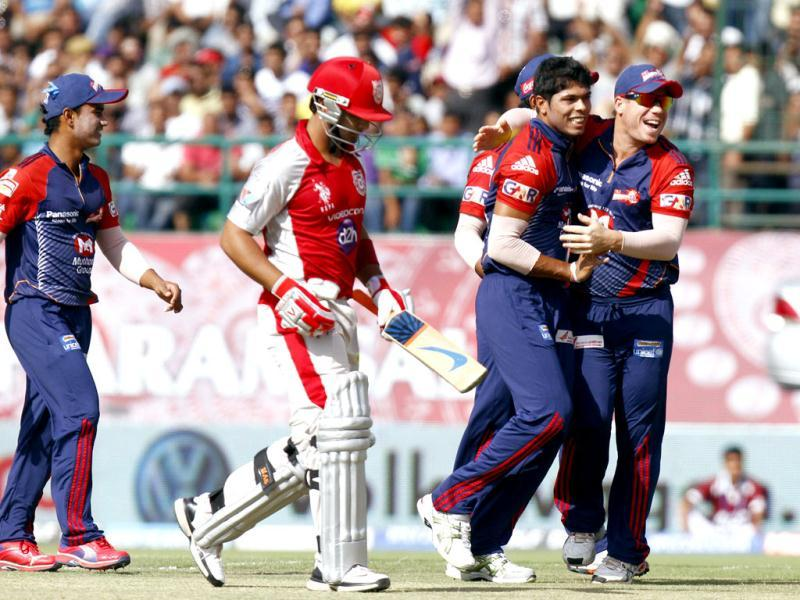 Umesh Yadav of Delhi Daredevils celebrates with other team players after taking wicket of Mandeep Singh of Kings XI Punjab during the IPL match at HPCA stadium, Dharamsala. Gurpreet Singh/HT