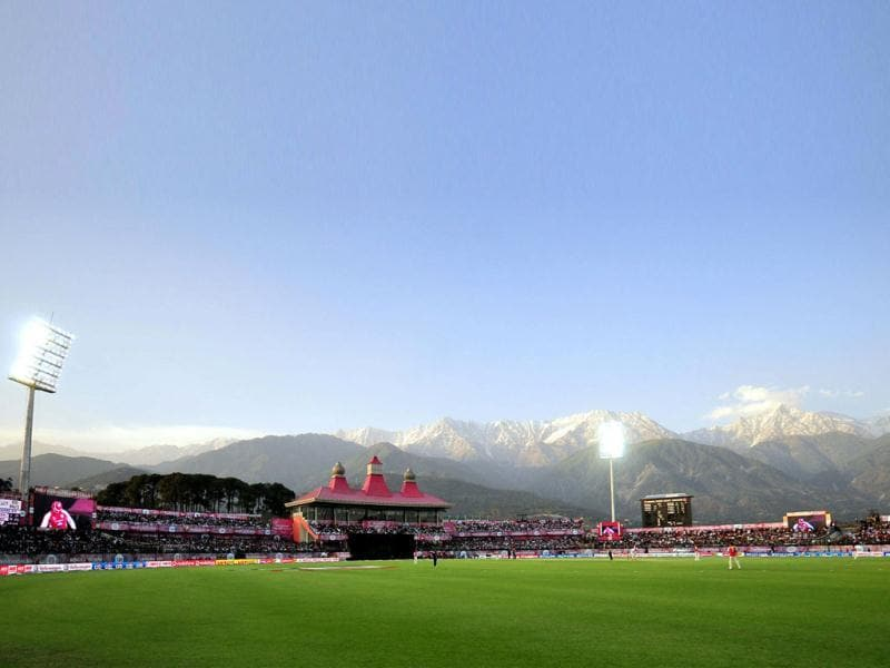 View of the HPCA Stadium where the IPL Twenty 20 cricket match between Kings XI Punjab and Delhi Daredevils was held in Dharamsala. HT Photo/Gurpreet Singh