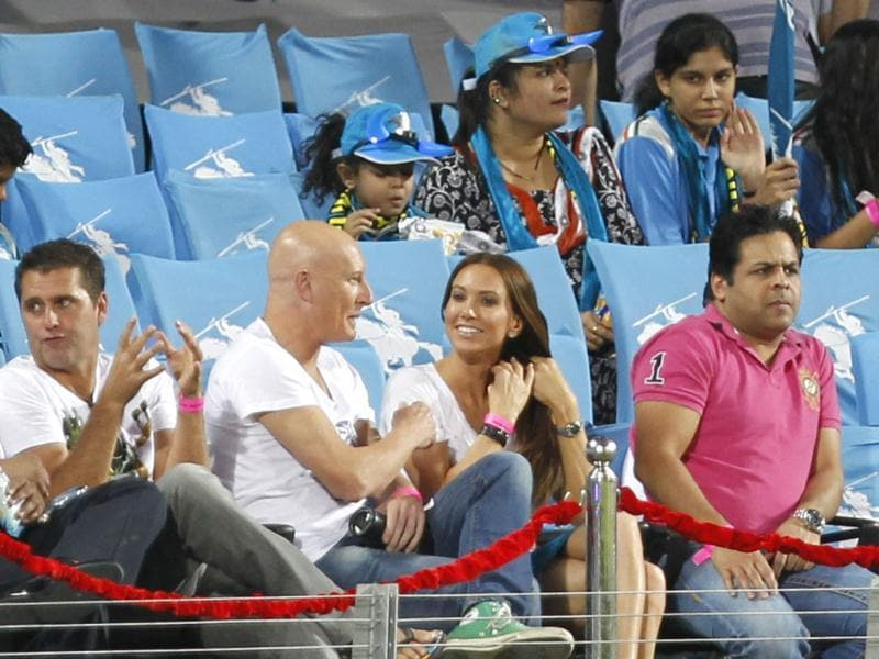 PWI batsman Michael Clarke's wife Kylie Boldy (in white) is spotted during the match between Pune Warriors India and Kolkata Knight Riders at Subrata Roy Sahara Stadium, Pune. HT Photo/Kunal Patil