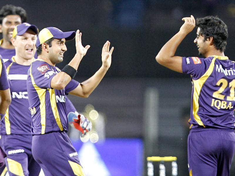 KKR players celebrate the wicket of Robin Uthappa during the match between PWI and KKR at Subrata Roy Sahara Stadium in Pune. HT Photo/Kunal Patil