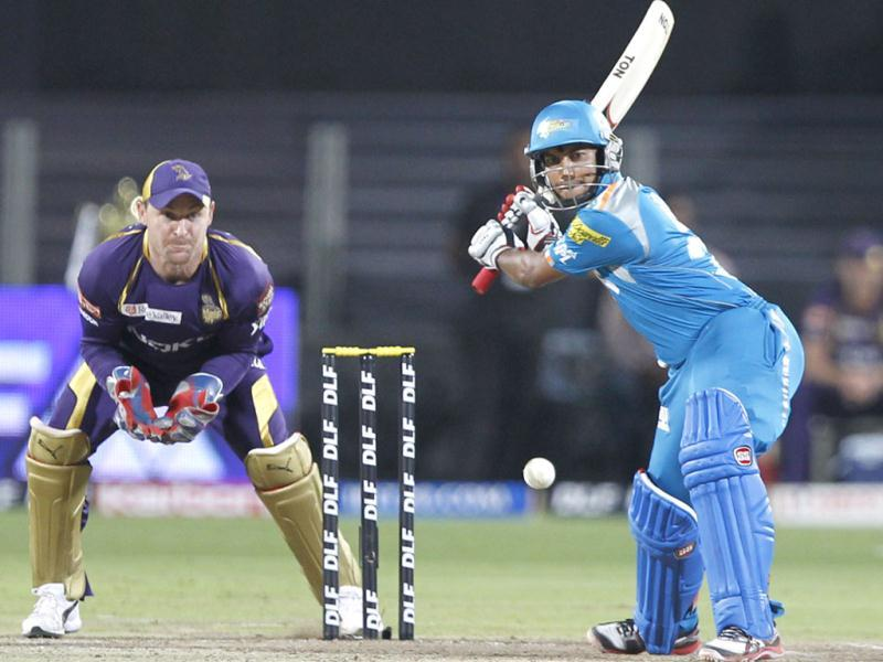 Pune Warriors India player Arustup Mazumdar plays a shot during the match between Pune Warriors India and Kolkata Knight Riders at Subrata Roy Sahara Stadium in Pune. HT Photo/Kunal Patil