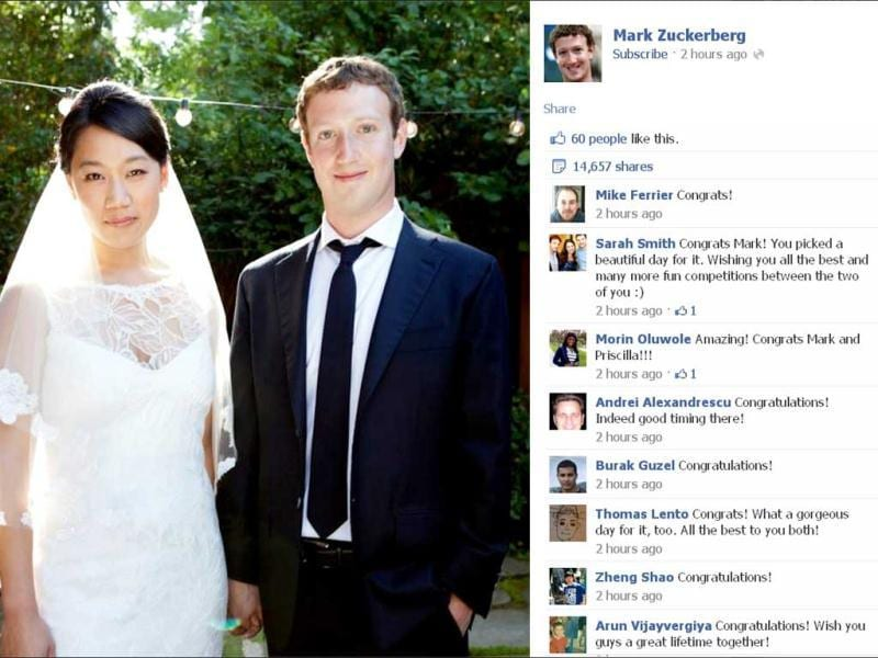 Facebook co-founder and CEO Mark Zuckerberg and Priscilla Chan are seen in this screengrab of a wedding photo posted on Zuckerberg's Facebook page. Zuckerberg wed longtime girlfriend Chan, announcing the nuptials through a status update on the social networking site. REUTERS