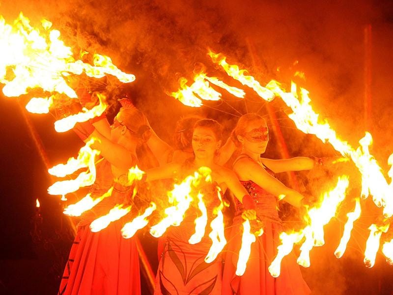 Performers participate in a two-day fire festival in Minsk. AFP/Viktor Drachev