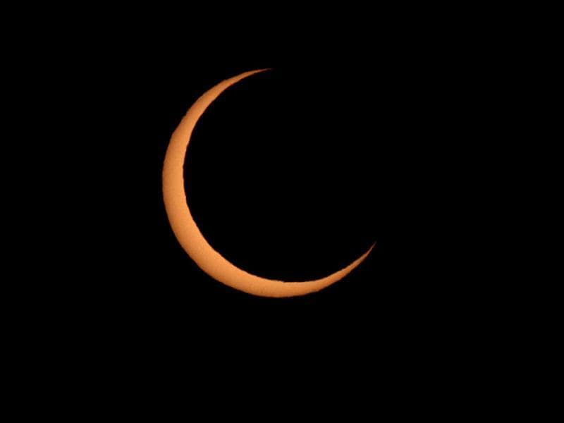 An annular eclipse appears in San Francisco. The annular eclipse, in which the moon passes in front of the sun leaving only a golden ring around its edges, was visible to wide areas across China, Japan and elsewhere in the region before moving across the Pacific to be seen in parts of the western United States. AP Photo/San Francisco Chronicle, Frederic Larson