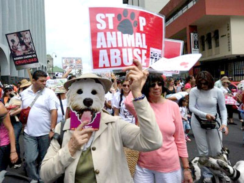 Costa Rican citizens march during a protest against animal abuse in San Jose, Costa Rica. AFP Photo/Rodrigo Arangua
