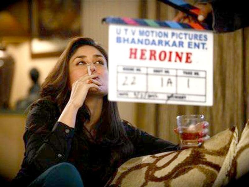 Bebo shows her bold side in this still from Heroine as she's seen smoking and drinking with elan. Madhur Bhandarkar tweeted the pic saying: