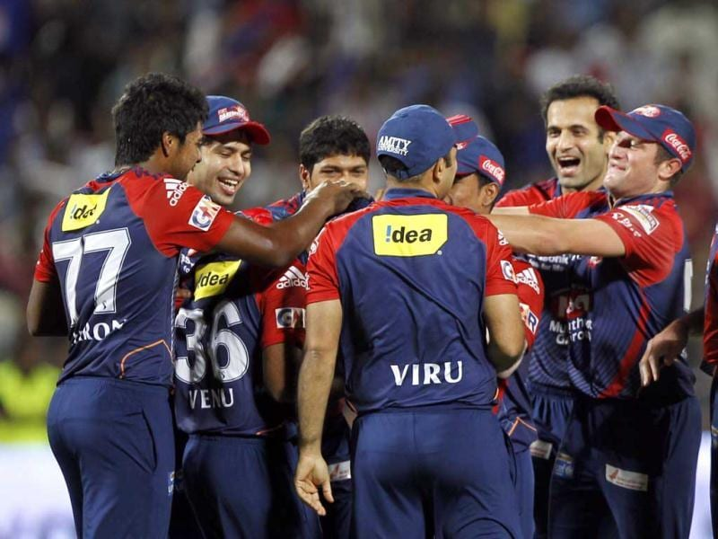 Delhi Daredevils players celebrate the wicket of Gautam Gambhir during the first Qualifier between Delhi Daredevils and Kolkata Knight Riders at Subrata Roy Sahara Stadium in Pune. HT/Vijay Anand Gupta