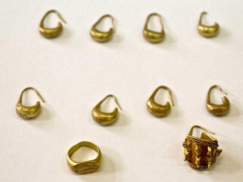 Recently discovered earrings and a ring from the