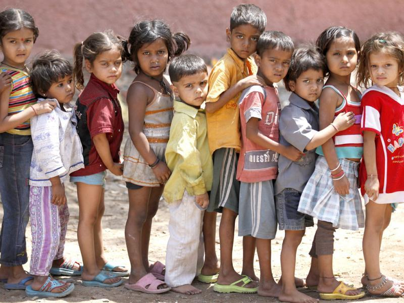 Children queue up outside a creche in Daya Basti in New Delhi. HT/Raj K Raj