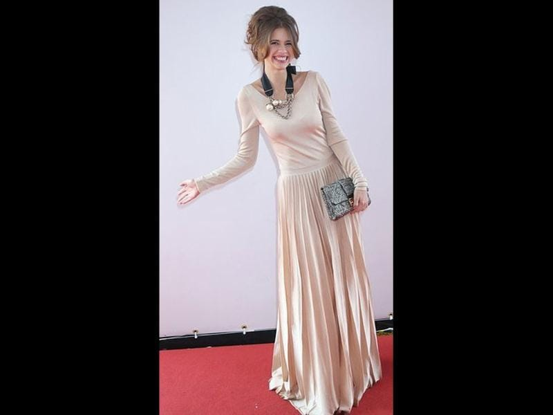 Kalki Koechlin looks ladylike in a very graceful gown at a photocall at Cannes for the movie Gangs Of Wasseypur.