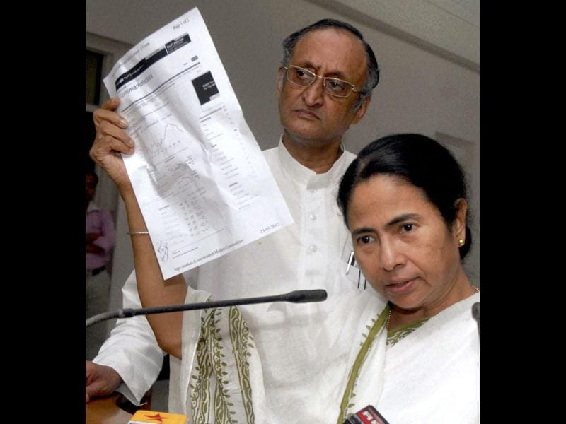 West Bengal chief minister Mamata Banerjee shows market data during a press conference regarding the price hike of petrol, in Kolkata. Also seen in the picture is state finance minister Amit Mitra. PTI photo