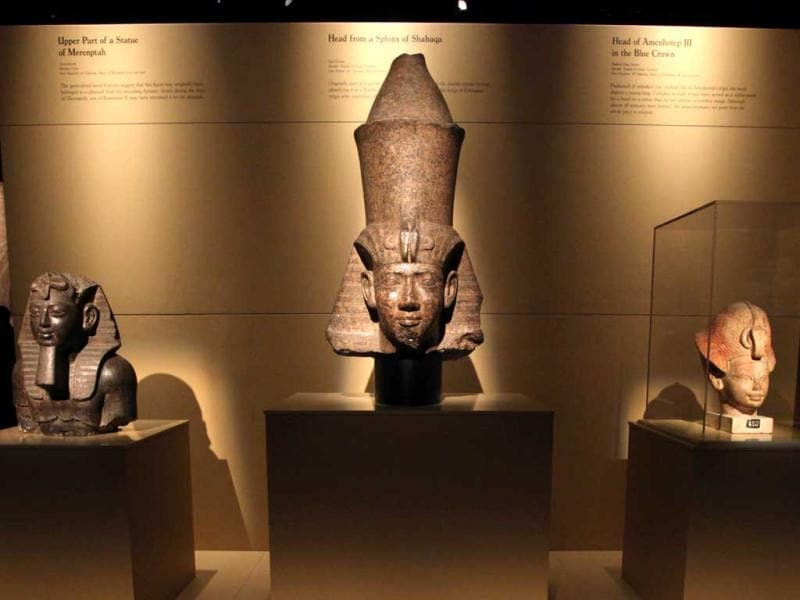 Statues are displayed during a preview of a King Tut exhibit. AP/Elaine Thompson