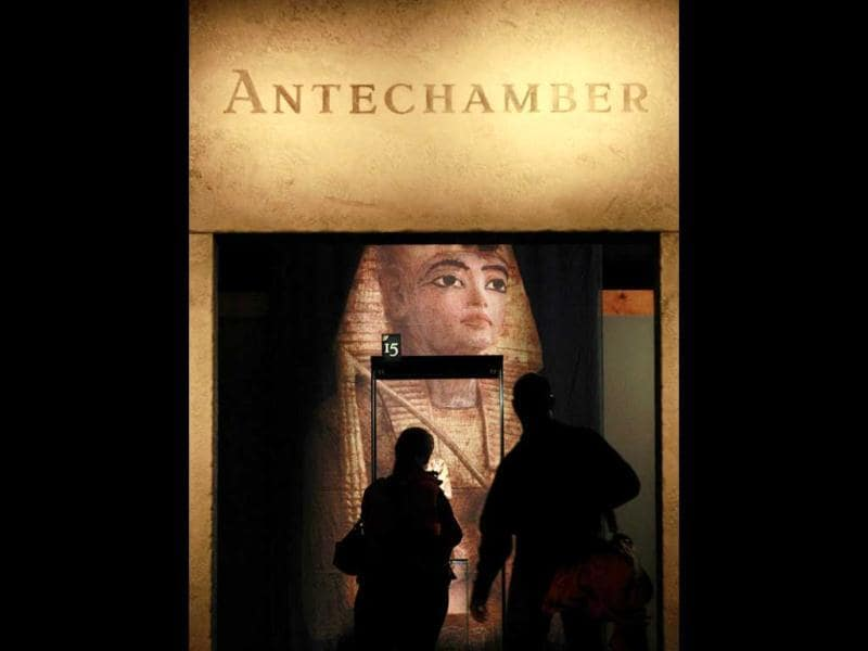 Visitors head into the antechamber display area during a preview of a King Tut exhibit. AP/Elaine Thompson