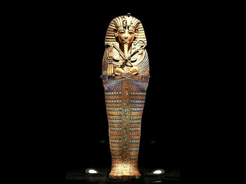 A canopic coffinette is displayed during a preview of a King Tut exhibit. AP/Elaine Thompson