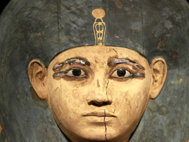 The head of the inner coffin of Queen Meritamun is displayed during a preview of a King Tut exhibit. AP/Elaine Thompson