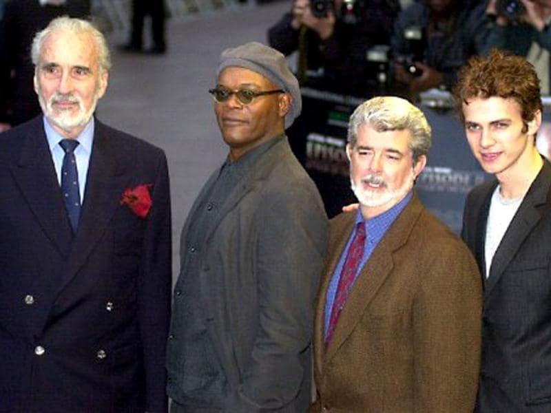 British actor Christopher Lee (L), US actor Samuel L Jackson, US film maker George Lucas and US actor Hayden Chritensen arrive at the premiere of