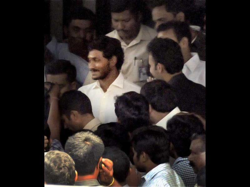 YSR Congress president Jagan Mohan Reddy leaves his residence to appear before the CBI officials in Hyderabad on Friday in connection with the disproportionate assets case against him. PTI Photo
