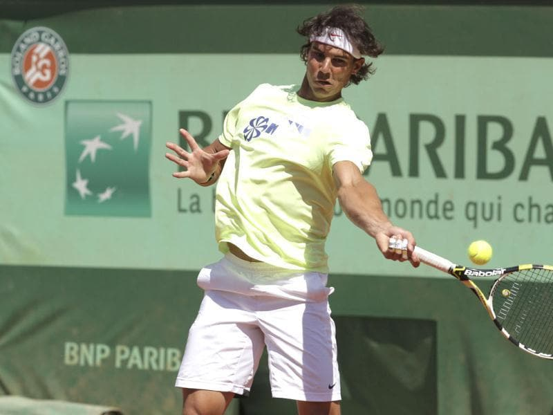 Defending champion Spain's Rafael Nadal trains for the French Open tennis tournament at the Roland Garros stadium in Paris. AP Photo/Michel Euler