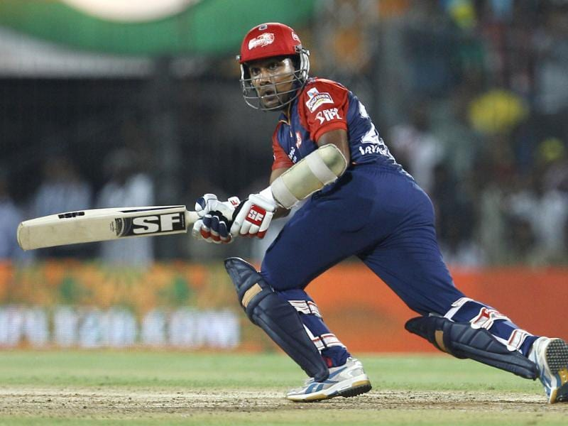 Delhi Daredevils batsman Mahela Jayawardene watches his shot during their Indian Premier League (IPL) playoff cricket match against Chennai Super Kings in Chennai. AP/Aijaz Rahi