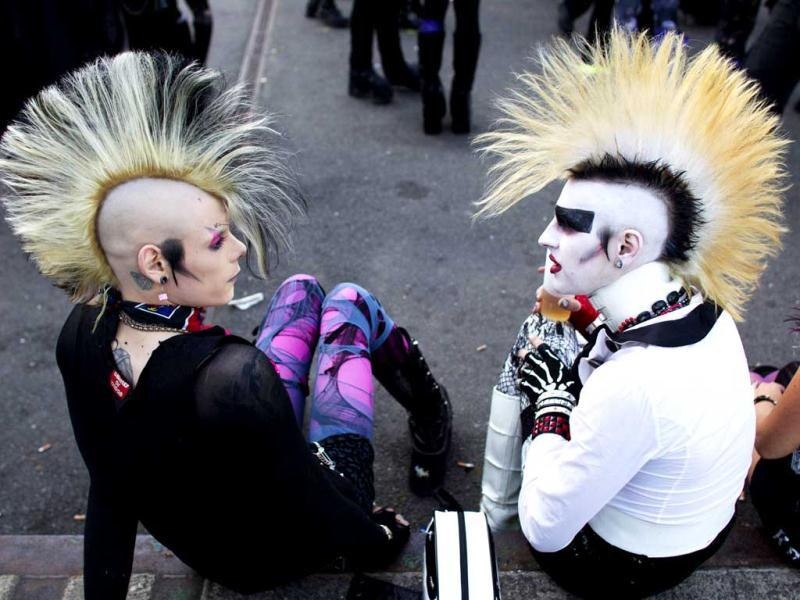 Revellers attend the Wave and Goth festival in Leipzig. The annual festival, known in Germany as Wave-Gotik Treffen, features up to 150 bands and musicians playing Gothic rock and other styles of the