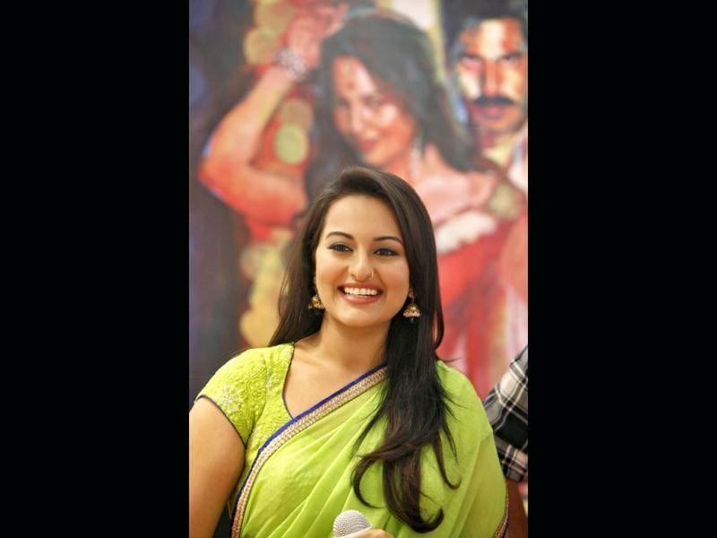 Sonakshi Sinha smiles during the promotional event.