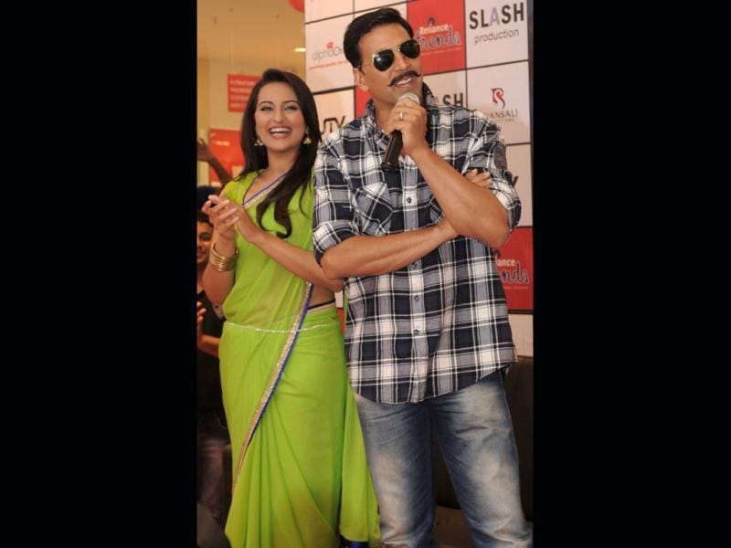 Sonakshi Sinha and Akshay Kumar interact in Ahmedabad on May 25. The actors were in the city to promote their forthcoming film Rowdy Rathore which is scheduled to be released on June 1.