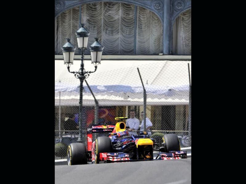 Red Bull Racing's Australian driver Mark Webber drives during the third practice session at the Circuit de Monaco on May 26, 2012 in Monte Carlo ahead of the Monaco Formula One Grand Prix. AFP/Boris Horvat