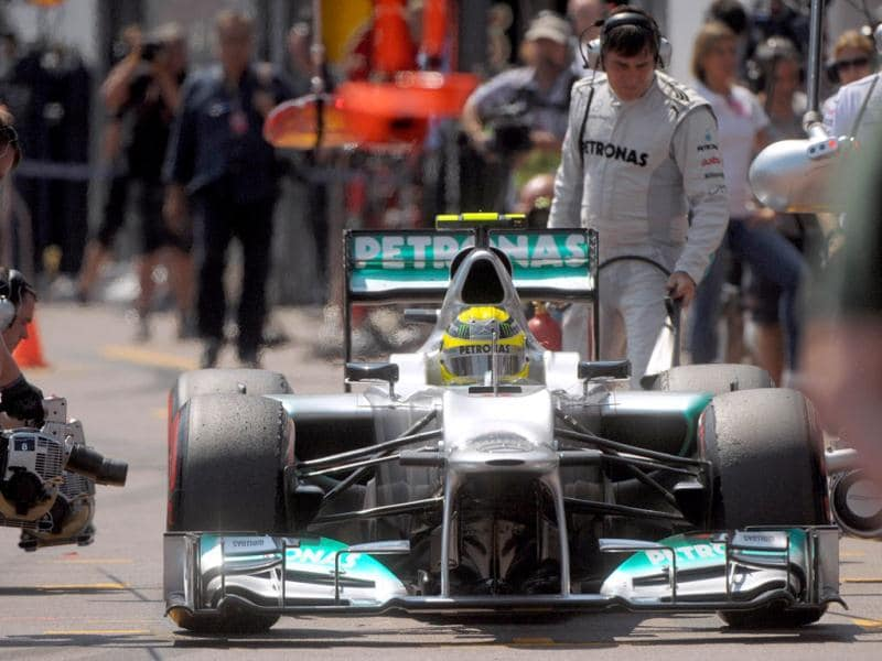 Mercedes' German driver Nico Rosberg arrives in the pits during the third practice session at the Circuit de Monaco in Monte Carlo ahead of the Monaco Formula One Grand Prix. AFP/Tom Gandolfini