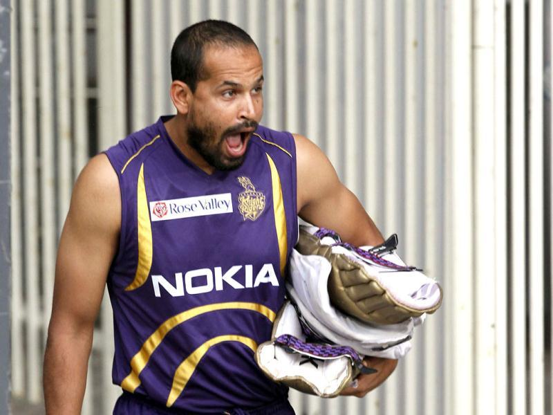 Kolkata Knight Riders player Yusuf Pathan during the team's practice session ahead of their IPL final match against Chennai Super Kings at MA Chidambaram stadium in Chennai. (HT Photo/Santosh Harhare)