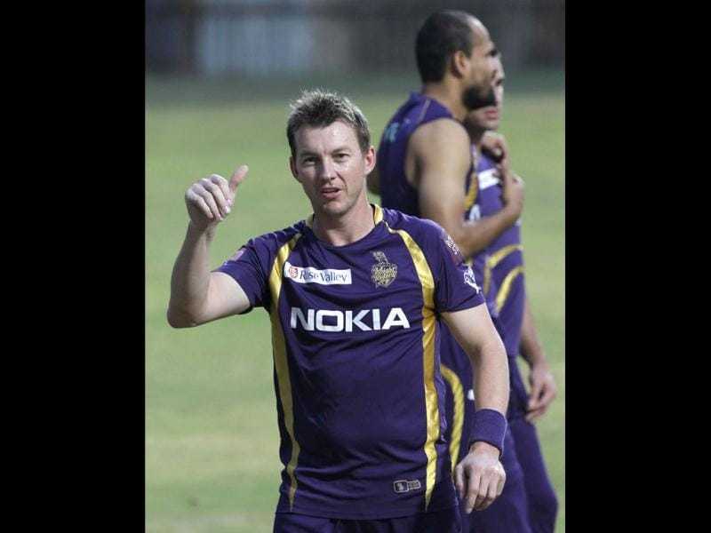 Kolkata Knight Riders bowler Brett Lee during the team's practice session ahead of their final match against Chennai Super Kings at MA Chidambaram stadium in Chennai.(HT Photo/Santosh Harhare)