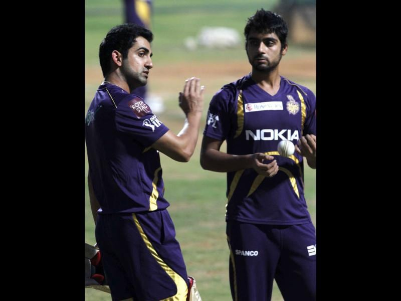 Kolkata Knight Riders captain Gautam Gambhir talks to Iqbal Abdullah during the team's practice session ahead of their final match against Chennai Super Kings at MA Chidambaram stadium in Chennai. (HT Photo/Santosh Harhare)