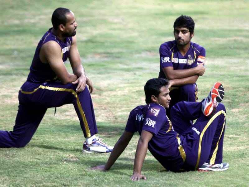 Kolkata Knight Riders players Yusuf Pathan, Shakib Al Hasan and Iqbal Abdullah during the team's practice session ahead of their final match against Chennai Super Kings at MA Chidambaram stadium in Chennai. (HT Photo/Santosh Harhare)