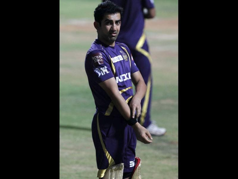 Kolkata Knight Riders captain Gautam Gambhir during the team's practice session ahead of their final match against Chennai Super Kings at MA Chidambaram stadium in Chennai. (HT Photo/Santosh Harhare)