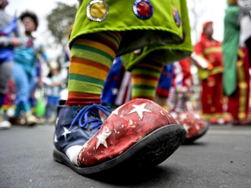 Picture of a clown's shoe taken as hundreds of clowns demonstrate in the streets of Lima to demand the Peruvian Congress to create a