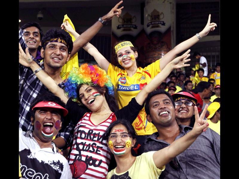 Fans enjoying IPL final match between Chennai Super Kings and Kolkata Knight Riders at MAC Stadium, in Chennai. (Wire photo)