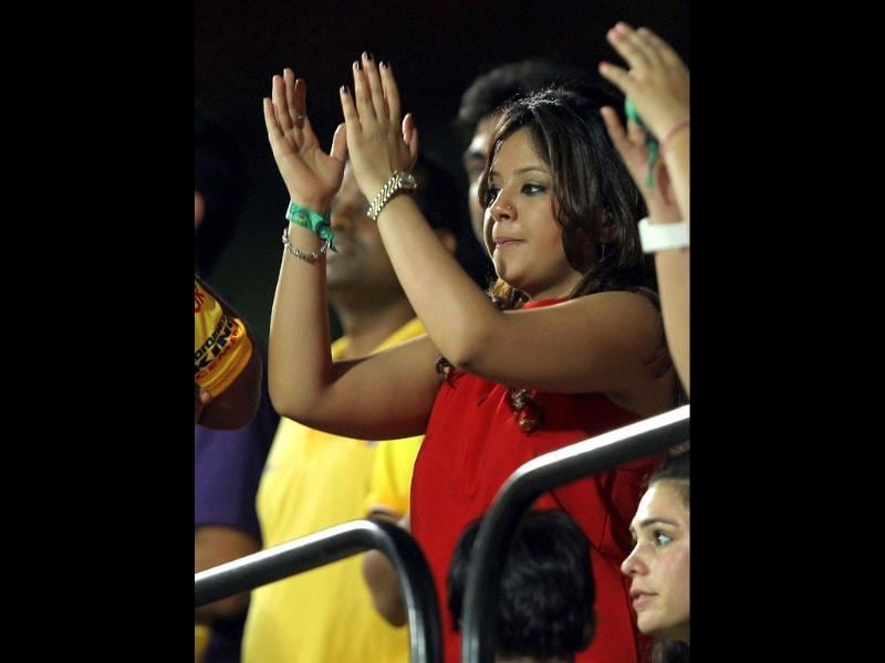 Chennai Super Kings' MS Dhoni's wife Sakshi during the IPL-5 final between Chennai Super Kings and Kolkata Knight Riders in Chennai. (PTI/R Senthil Kumar)