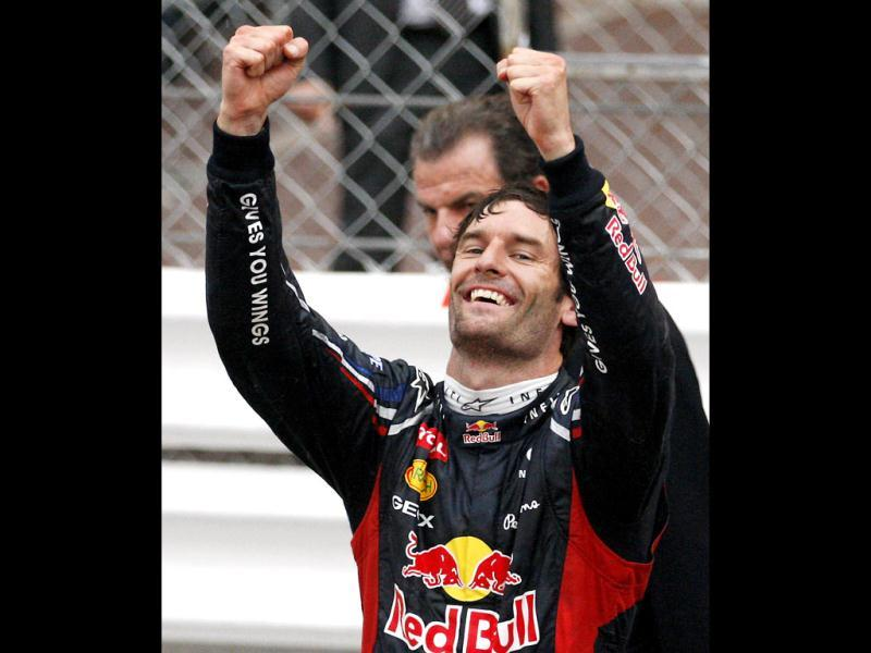 Red Bull driver Mark Webber, of Australia, celebrates after winning the Monaco Formula One Grand Prix at the Monaco racetrack, in Monaco. (AP Photo/Antonio Calanni)