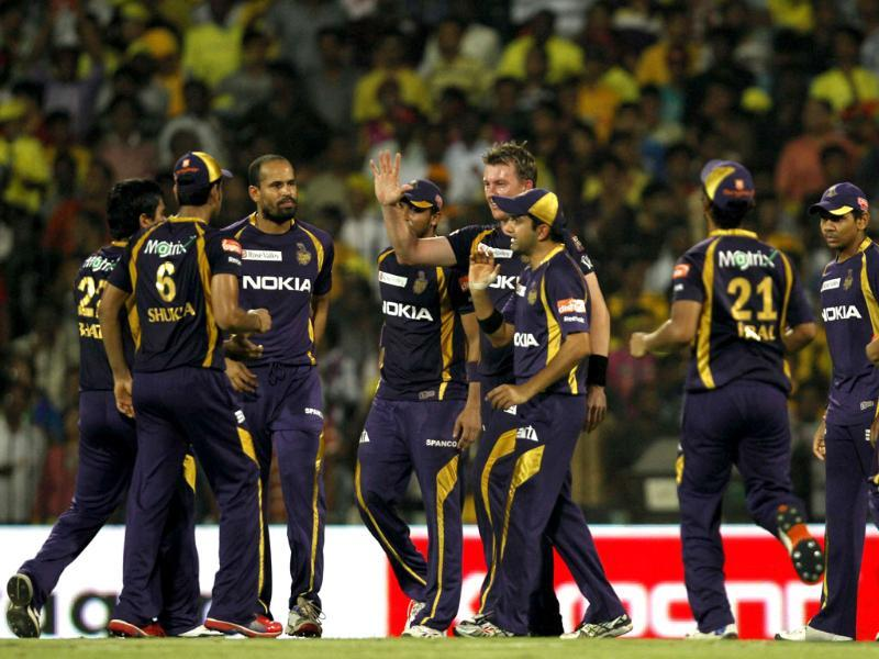 Kolkata Knight Riders players celebrate the dimissal of Chennai Super Kings batsman Murali Vijay during IPL final match at MA Chidambaram stadium in Chennai. (HT photo by Virendra Singh Gosain)