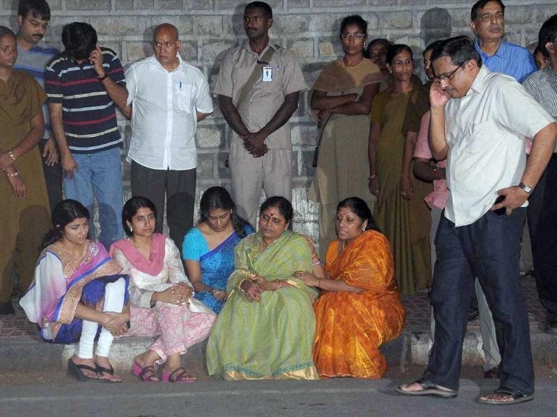 Mother Vijaya Lakshmi and other family members of YSR Congress party chief YS Jagan Mohan Reddy staging a protest outside the CBI office in Hyderabad on Sunday. PTI Photo