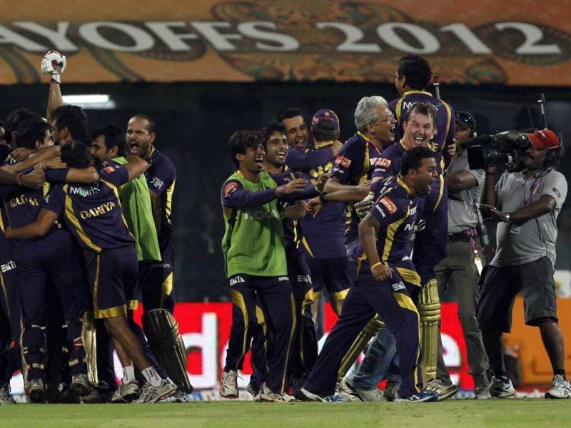 Kolkata Knight Riders players celebrate after their win against the Chennai Super Kings at the MA Chidambaram stadium in Chennai. HT photo/Santosh Harhare