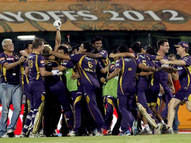 Kolkata Knight Riders players celebrate their win against the Chennai Super Kings at the MA Chidambaram stadium in Chennai. HT photo/Santosh Harhare