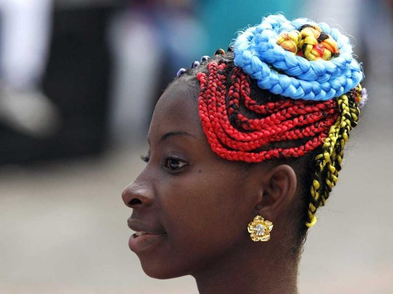 A woman presents an African-Colombian hairstyle during the Afro-Hairstyles VIII Competition in Cali. Reuters/Jaime Saldarriaga