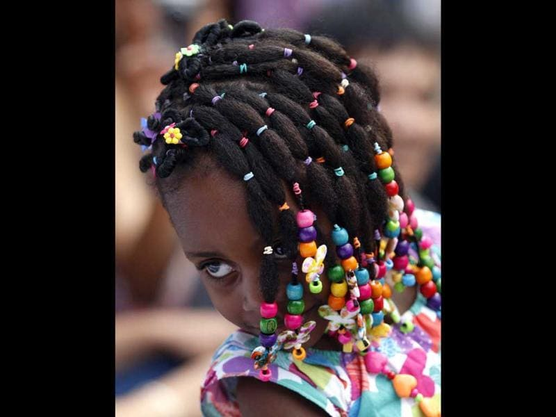 A girl presents an African-Colombian hairstyle during the Afro-Hairstyles VIII Competition in Cali. Reuters/Jaime Saldarriaga