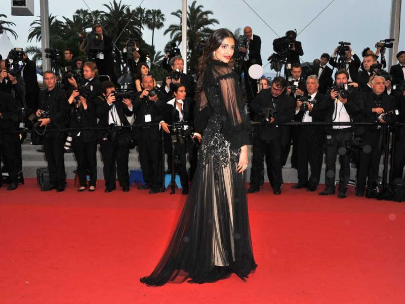 From lots of sheer black fabric and intricate embroidery on the gown to the heavy makeup, the look didn't quite work in favour of Sonam, who had rocked the Cannes red carpet last year, in a stunning white Jean Paul Gaultier couture gown.