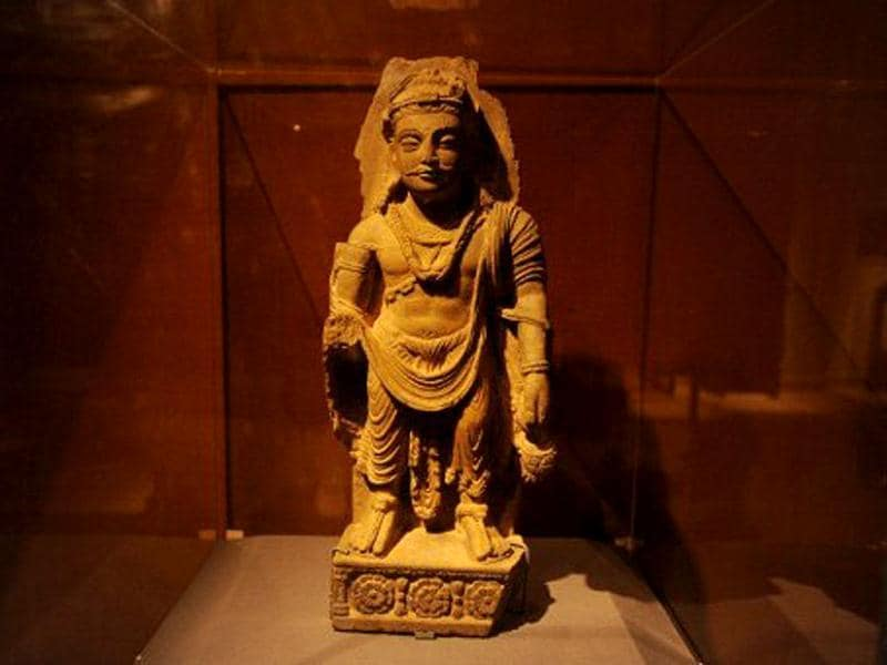 A statue is displayed at the Kabul National Museum in Kabul. About 70 % of the museum's 100,000-piece collection was looted by mujaheddin fighters during the civil war of the 1990s and exhibits were damaged by rocket fire. The Taliban, who in 2001 destroyed the giant carved Buddhas in Bamiyan, central Afghanistan, also smashed the museum's pre-Islamic Buddha figures, deeming them un-Islamic. AFP Photo / Aref Karimi