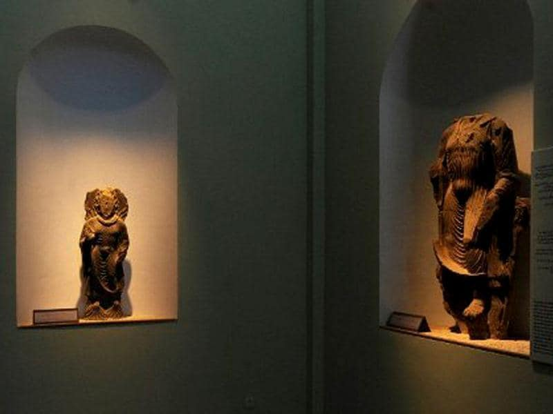 Statues are displayed at the Kabul National Museum in Kabul. About 70 % of the museum's 100,000-piece collection was looted by mujaheddin fighters during the civil war of the 1990s and exhibits were damaged by rocket fire. The Taliban, who in 2001 destroyed the giant carved Buddhas in Bamiyan, central Afghanistan, also smashed the museum's pre-Islamic Buddha figures, deeming them un-Islamic. AFP Photo / Aref Karimi