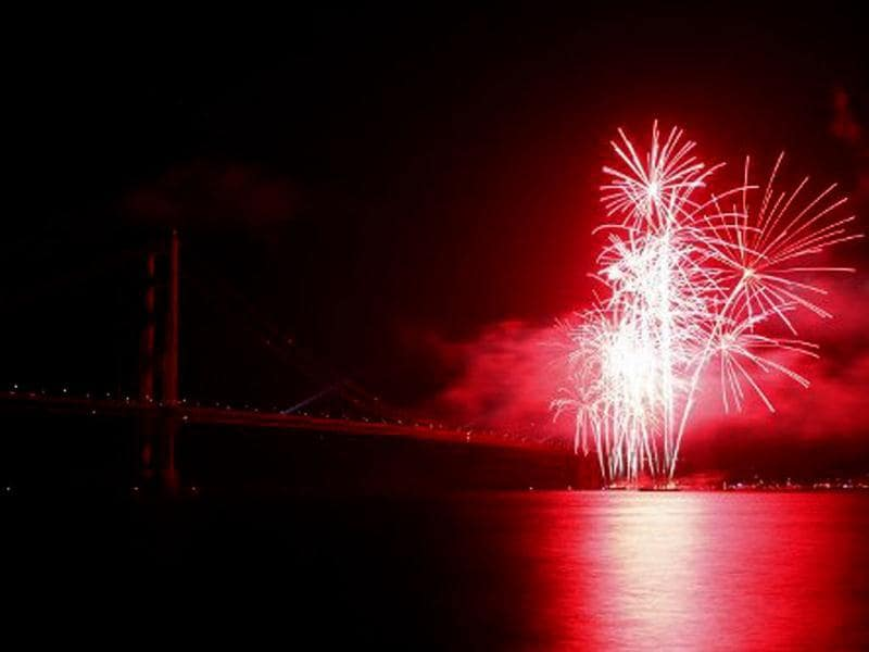 Fireworks illuminate the Golden Gate Bridge during the celebration of its 75th anniversary. Tens of thousand of people came to San Francisco's waterfront to mark the 75th anniversary of the Golden Gate Bridge, the distinctive orange vermilion structure that attracts some 10 million visitors each year. AFP/Kimihiro Hoshino