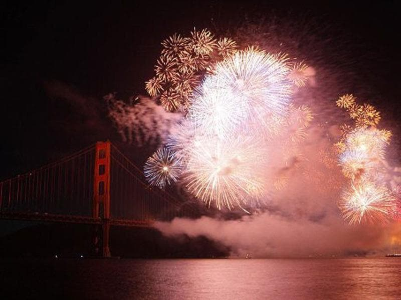 Fireworks illuminate the Golden Gate Bridge during the celebration of its 75th anniversary. Tens of thousand of people came to San Francisco's waterfront to mark the 75th anniversary of the Golden Gate Bridge, the distinctive orange vermilion structure that attracts some 10 million visitors each year. AFP /Kimihiro Hoshino