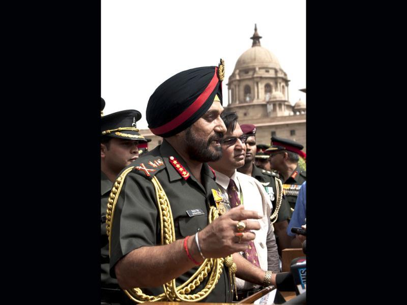 New army chief, General Bikram Singh addresses the media at the defence ministry in New Delhi. AFP/Prakash Singh