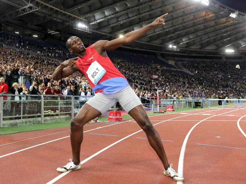 Usain Bolt of Jamaica celebrates after winning the men's 100 metres event at the Golden Gala IAAF Diamond League at the Olympic stadium in Rome. Reuters photo